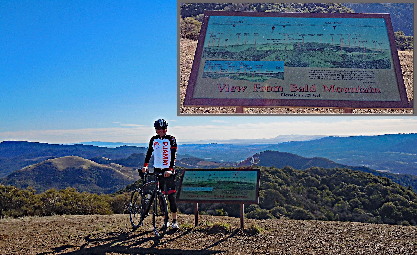 Bike climb up bald mountain - map at the top with mountains