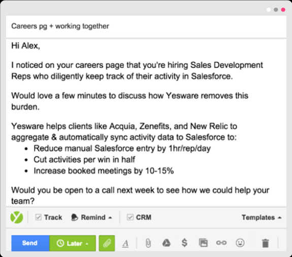 Yesware cold email - Targeted messages - HelpCrunch blog