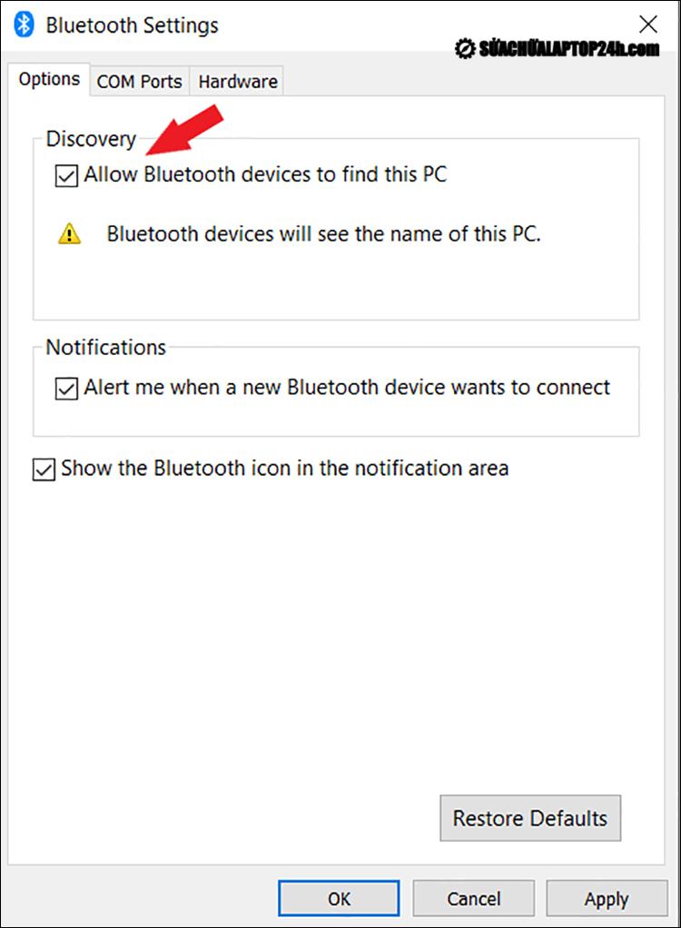 Thiết lập để PC được phát hiện