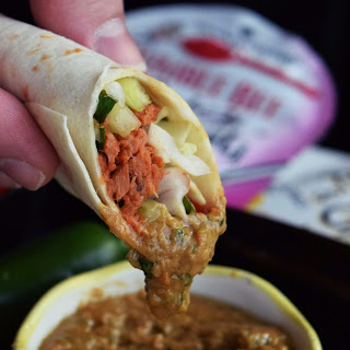 Spicy Thai Tuna Wraps with Peanut Sauce.