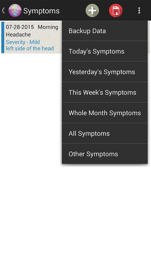 Symptom Tracker- screenshot