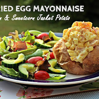 Curried Egg Mayonnaise with Ham & Sweetcorn Jacket Potatoes.