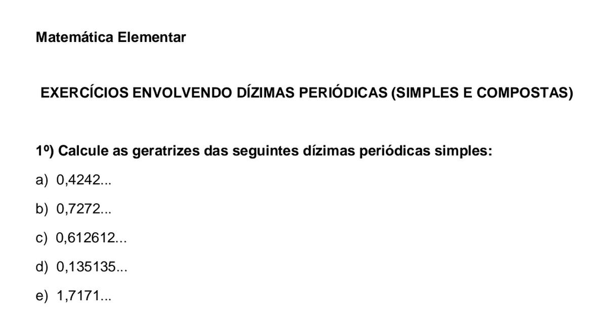 Lista 1 Exerc 237 Cios Envolvendo D 237 Zimas Peri 243 Dicas