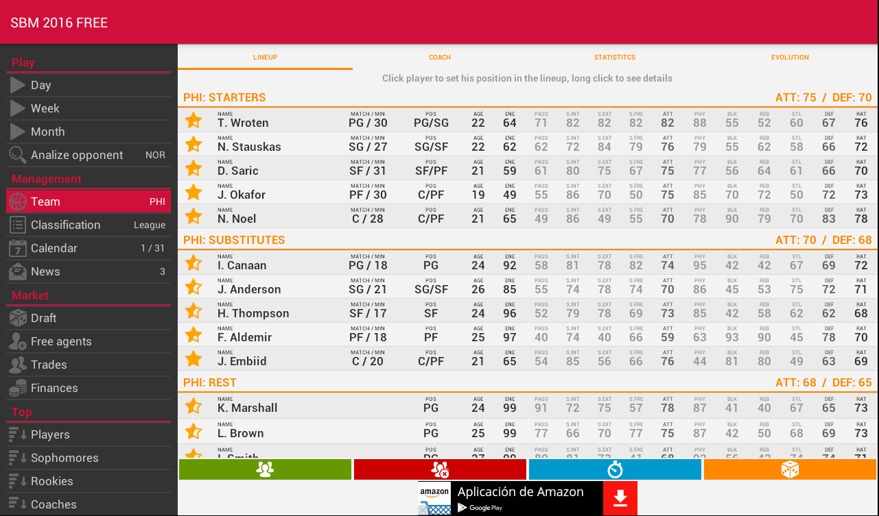 Super Basket Manager 16- screenshot