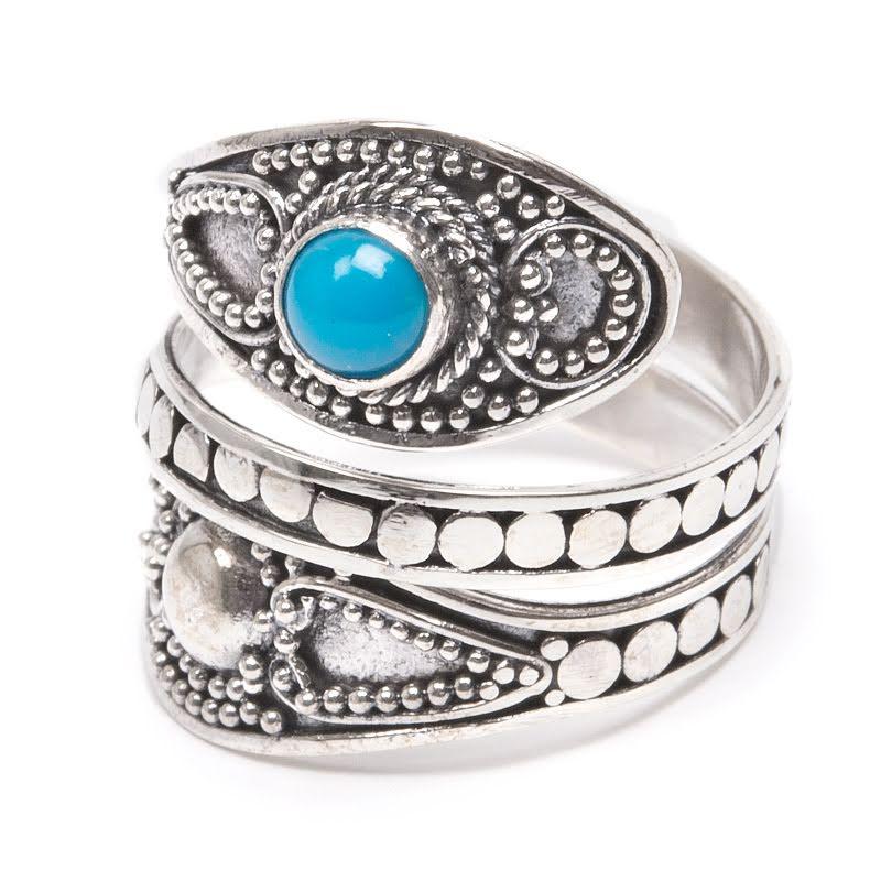 Turkos, silverring med filigrandekor