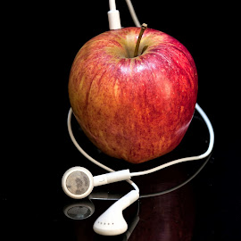 CORE LISTENING by Russell Mander - Artistic Objects Still Life ( ear buds, apple )
