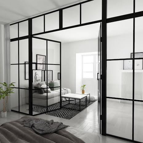 Industrivägg 2 Dörrar + 2 väggar + ovanliggare svart