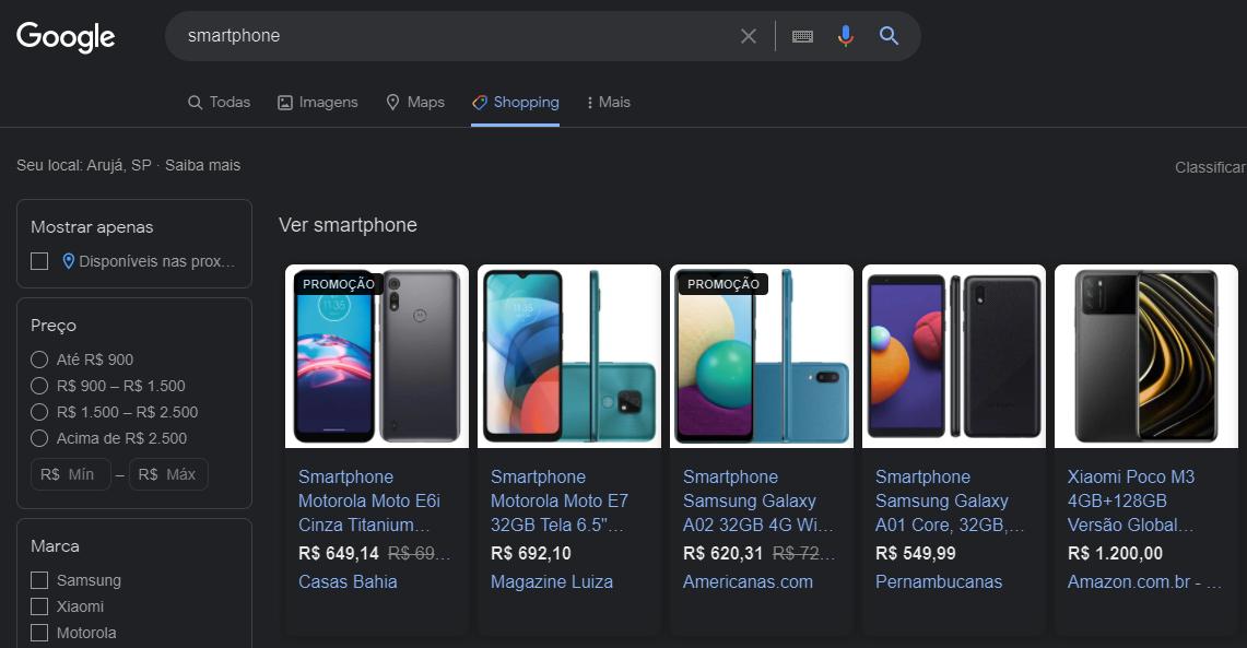 imagem de uma pesquisa de smartphone no google shopping