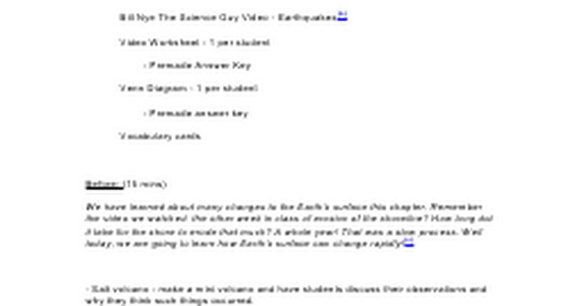 Swiss Sci Chp9L3 Bill Nye Google Docs – Bill Nye Volcanoes Worksheet
