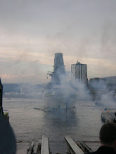 Photo: 2009 Oct 21 - Launching of HMS Defender - the smoke is from the fireworks!