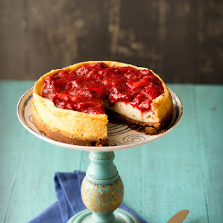 Vanilla Bean Quark Cheesecake with Balsamic Roasted Strawberries Recipe