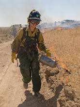 Photo: West Cinder Prescribed Burn, Twin Falls District BLM, Idaho, August 3, 2010, female firefighter, drip torch