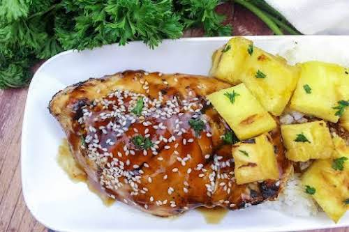 """Grilled Teriyaki Ginger Chicken With Pineapples """"This chicken was delicious! It was..."""