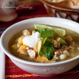 Chicken Tomatillo Soup with Hominy.