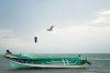 Sri. Lanka Mannar Kiteboarding. Time to try new trick - Safety boat on the ready
