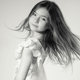 Swish and flick by Vix Paine - Babies & Children Child Portraits ( hair, action, model, black and white, portrait, child, hairstyle )