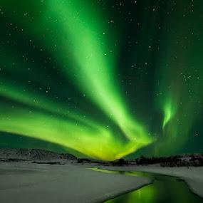 Aurora Borealis by Bragi Ingibergsson - Landscapes Starscapes ( water, winter, nature, brin, green, bragi j. ingibergsson, snow, northern lights, aurora borealis, river )
