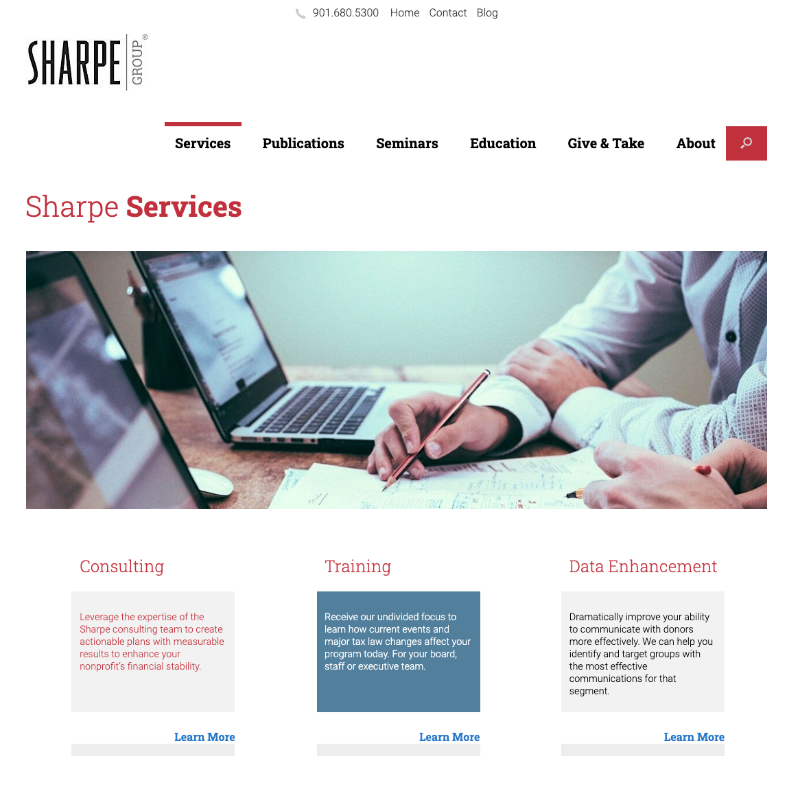Sharpe Groupe service page example
