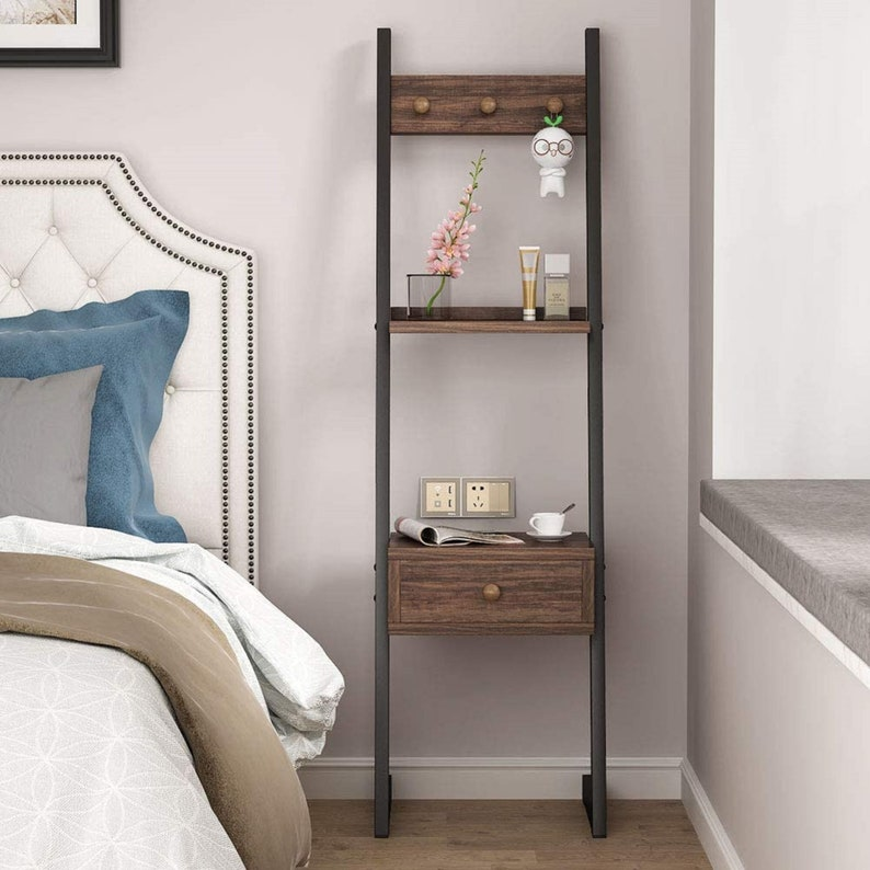 Ladder Shelf with a Drawer as a Nightstand