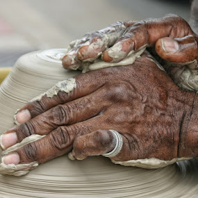 Working the Clay by Stacey Bates - People Street & Candids ( clay, hands, potter, pottery, working )