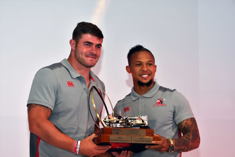 Malcolm Marx (L), Lions Super Rugby Player of the Year, Supporters Player of the Year, Players' Player of the Year, Most valued Player of the Year during the Annual Lions Awards Function at Emirates Airline Park on February 03, 2018 in Johannesburg, South Africa. (
