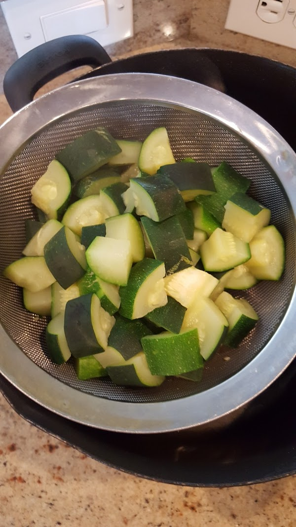 Cook cubed zucchini in water until 1/2 tender.  Be very careful not to...
