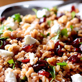 Farro, Cranberry and Goat Cheese Salad.