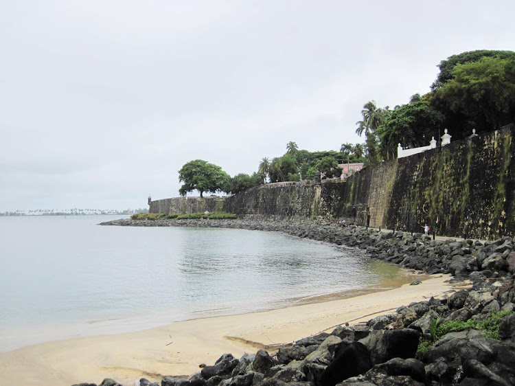 The path along the waterfront along historic San Cristobal Fort.