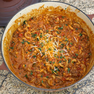 One Pot Beefy Chili Macaroni and Cheese.