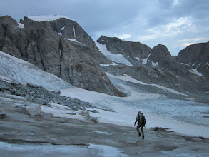 Photo: Dinwoody Glacier right before we got rained on. We roped right after stepping on the glacier, good thing because moments later Bob dropped into a crevasse up to his knees.