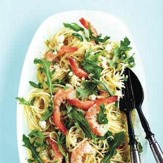 Garlic Shrimp And Feta Linguine.