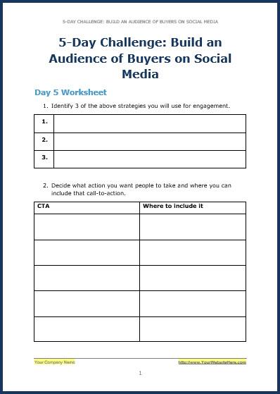 Build Your Audience Using Social Media - Bonus Challenge Worksheet 5