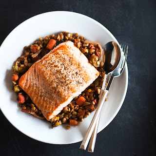 Roasted Salmon with Lentils and Bacon