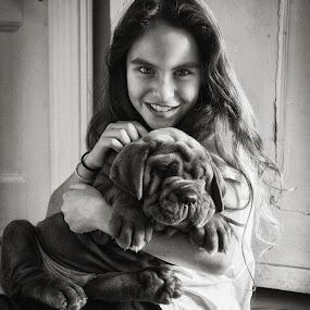 Henny & Puppy by Dan Horton-Szar ARPS - Black & White Portraits & People ( girl, monochrome, black and white, mastiff, puppy, dog, portrait,  )