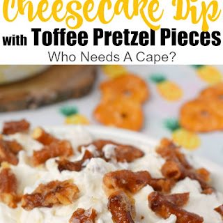 Pineapple Cheesecake Dip with Toffee Pretzel Pieces.