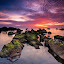 Keunikan pandak by Firdaus Haron - Landscapes Sunsets & Sunrises ( clouds, red, sky, waterscape, green, sunset, long exposure, mossy, malaysia, seascape, sunrise, rocks,  )