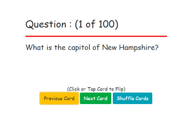 Flash Cards : US States and Capitols