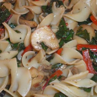 Buttered Noodles with Mushrooms, Chard, and Red Bell Pepper.