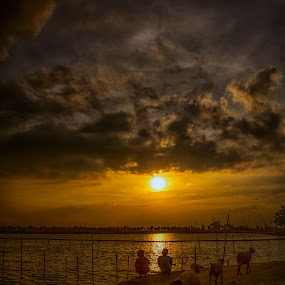 enjoy the sun set and than go home by Dian Anugrah - Babies & Children Children Candids ( sunset, yellow, lamb, kid )