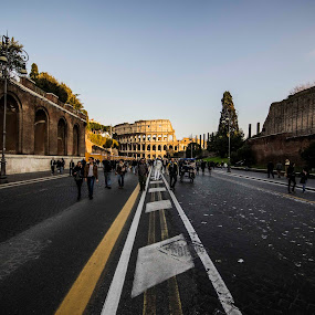 Until the Coliseum by Diego Antonelli - City,  Street & Park  Historic Districts ( romans, roma, building, ancient, coliseum. history, street, nikon, italy )