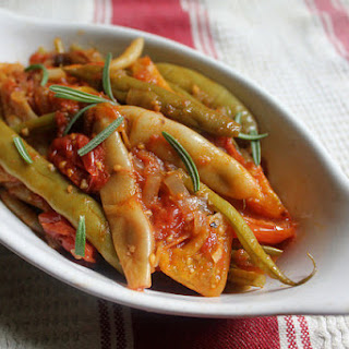 Green Beans Braised with Tomatoes, Olives, Capers & Herbs
