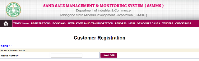 Customer Registration For TS Sand Booking
