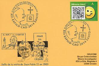Photo: Matasellos del 25 aniversario de la visita del Papa Juan Pablo II a Asturias, en el Centro Asturiano