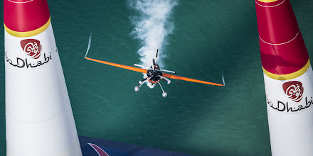 Photo: Nicolas Ivanoff of France performs during the race for the first stage of the Red Bull Air Race World Championship in Abu Dhabi, United Arab Emirates on March 1, 2014. // Balazs Gardi/Red Bull Content Pool // P-20140301-00152 // Usage for editorial use only // Please go to www.redbullcontentpool.com for further information. //