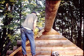 Photo: Dan cutting gable end.