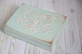 Photo: pudełko na obrączki minty ornament