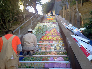 Photo: Beginning of seventh full day of work (November 4, 2013): morning view of the middle sections of the Hidden Garden Steps (16th Avenue, between Kirkham and Lawton streets in San Francisco's Inner Sunset District) as KZ Tile workers continue installing tread tiles and the 148-step ceramic-tile mosaic designed and created by project artists Aileen Barr and Colette Crutcher continues. For more information about this volunteer-driven community-based project supported by the San Francisco Parks Alliance, the San Francisco Department of Public Works Street Parks Program, and hundreds of individual donors, please visit our website at http://hiddengardensteps.org.