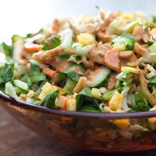 Bok Choy and Pineapple Salad with Peanut Dressing.