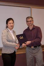 Photo: Jingyan Wang accepting the Arthur M. Hopkin Award.