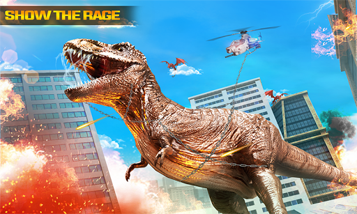 angry dino attack city rampage: wild animal games screenshot 3